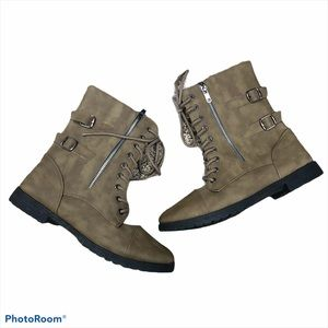 Charles albert vegan leather zipper moto boots 11